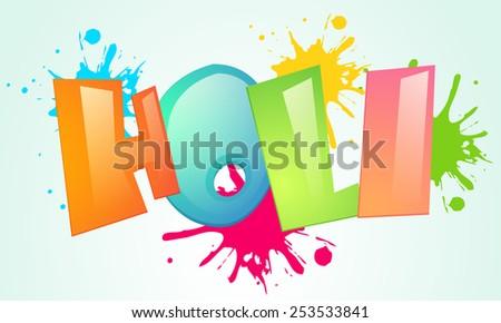 Stylish glossy text Holi on splash background for Indian festival of colors celebration.