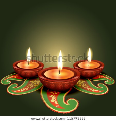 stylish glowing diwali diya background - stock vector