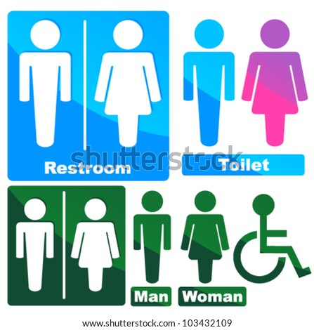 Stylish Glowing Toilette Symbols (green, blue, pink)