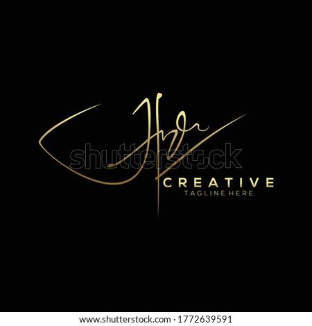 Stylish Gold Signature Letter H Logo Design Stock fotó ©