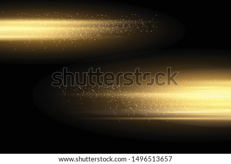 Stylish golden light effect. Abstract laser beams of light. Chaotic neon rays of light. Golden glitters. Isolated on transparent dark background. Vector illustration. EPS 10