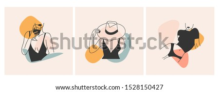 Stylish graceful faceless ladies. Three fashion illustrations. Hand drawn vector trendy set. Elegant art. Outline body parts. Slim waist, beautiful bodies, hand holding wine glass