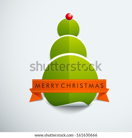 Stylish green Xmas tree created by glossy paper, can be use as sticker, tag or label.