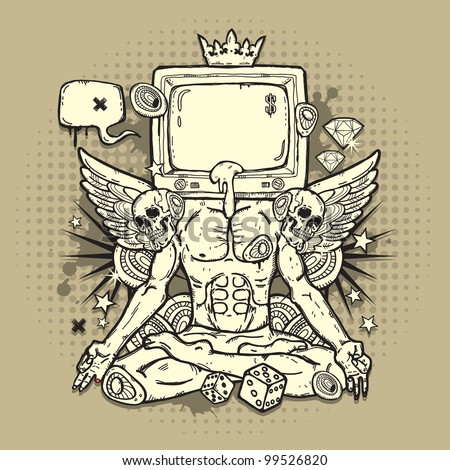 Stylish grunge illustration with TV