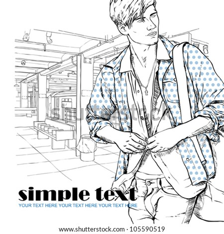 Stylish guy at  subway station.  Place for your text. Vector illustration