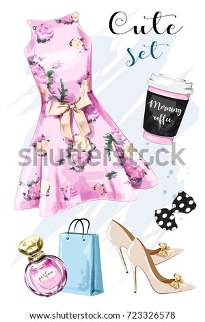 Stylish hand drawn clothing and accessories set with dress, shoes, shopping bag, perfume, coffee cup and bow. Beautiful outfit. Dress with flower print. Sketch.