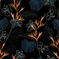 Stylish hand drawn dark tropical exotic line florals ,leaves  and orchid flowers seamless pattern vector ,Design for fashion,fabric,wallpaper,wrappign and all prints on black