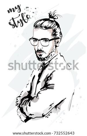 Stylish hand drawn man. Fashion man portrait. Handsome man in eyeglasses. Sketch.