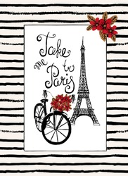 Stylish hand drawn typography card, placard, poster. Paris, France romantic retro backgrounds with slogan.