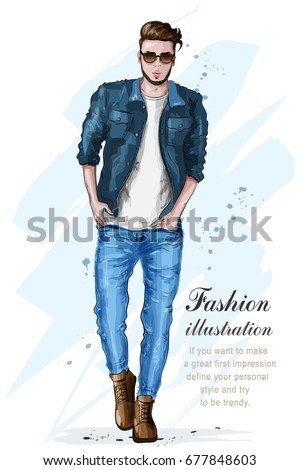 Stylish handsome man in fashion clothes. Fashion man. Hand drawn male model. Sketch. Vector illustration. - Shutterstock ID 677848603