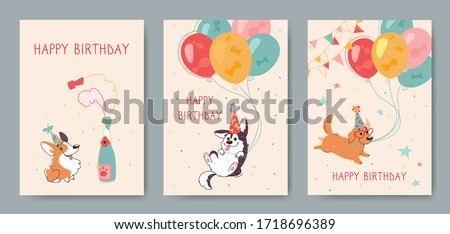 Stylish happy birthday cards with funny corgi, husky and labrador. Inflatable balls, champagne on a beige background. Vector greeting card with cute animals, print for factory textiles.
