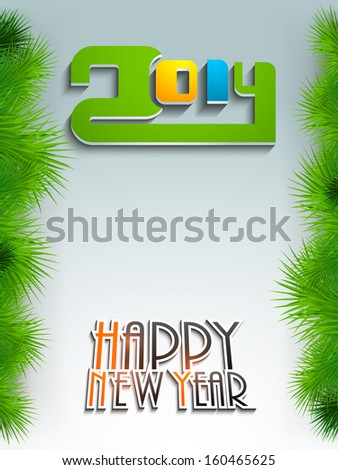 Stylish Happy New Year 2014 celebration concept with colorful glossy text, can be use as flyer, banner or poster.