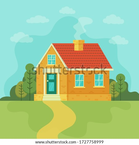 Stylish house against the sky and other elements of the environment.Mansion vector illustration. House exterior front view in trendy flat style. Townhouse building. Home faсade with door and windows.