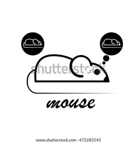 stylish icon of a white mouse