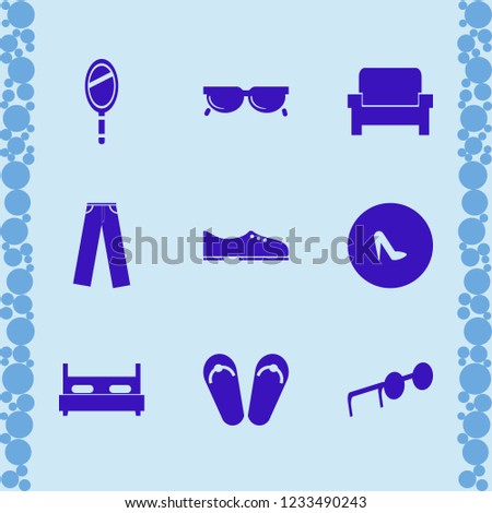 stylish icon. stylish vector icons set beach sneakers, hand mirror, men shoes and armchair