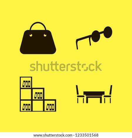 stylish icon. stylish vector icons set bookcase, handbag, sunglasses and table chairs
