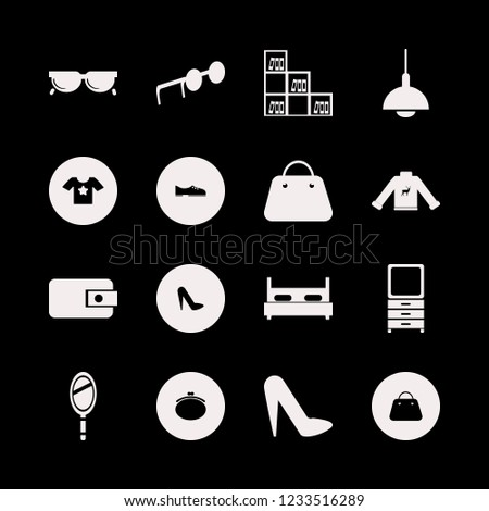 stylish icon. stylish vector icons set bookcase, women shoes, t shirt star and dresser mirror