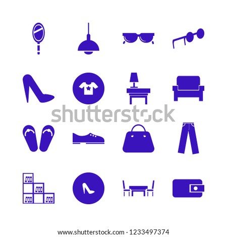 stylish icon. stylish vector icons set chandelier, sunglasses, beach sneakers and t shirt star