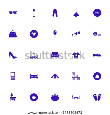 stylish icon. stylish vector icons set sunglasses, bookcase, t shirt star and floor lamp
