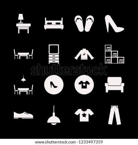 stylish icon. stylish vector icons set women shoes, t shirt star, trousers and dining room