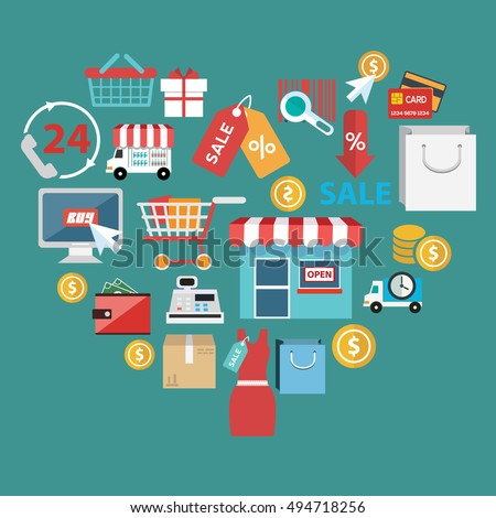 Stylish illustration concept with icons of retail commerce and marketing elements such as promotion, coupon, discount with various shopping and money economy sign and symbols in heart shape.