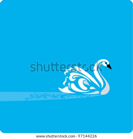 Stylish illustration of a Swan on a placid water