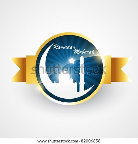 stylish islamic ramadan label vector illustration
