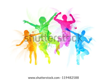 Stylish Jumping People - vector illustration