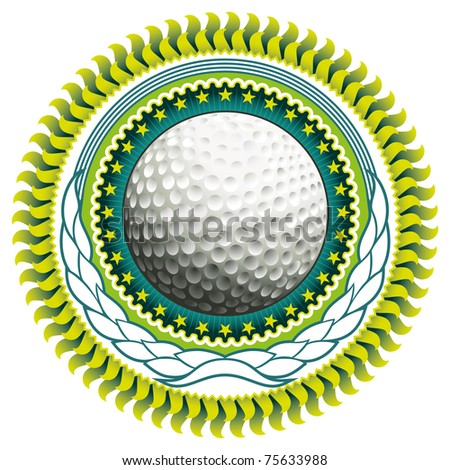 Stylish label with golf ball. Vector illustration.