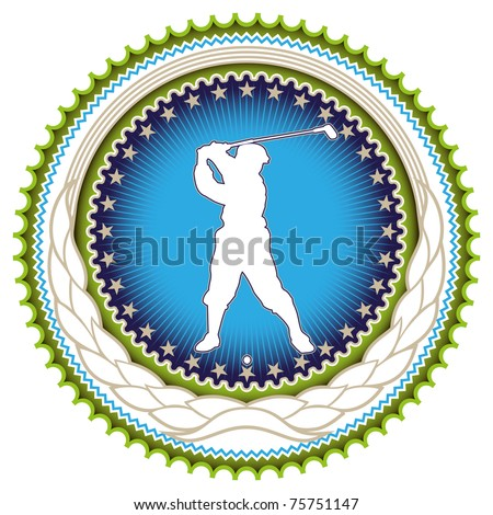 Stylish label with golf player silhouette. Vector illustration.