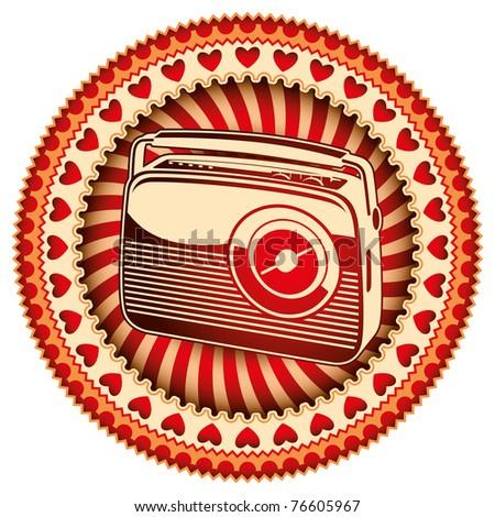 stylish label with retro radio