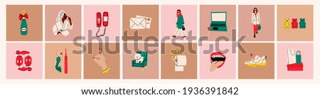 Stylish ladies wearing trendy clothes, coffee cup, boots. Modern woman Lifestyle. Work and sport, fashion, spa, hobby, shopping concept. Various isolated icons. Hand drawn Vector set