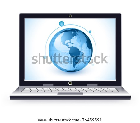 Stylish laptop on a white background The base map is from https://zulu.ssc.nasa.gov/mrsid/