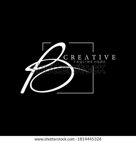 Stylish Letter B White Signature Logo Design Template with Squareline Background Stock fotó ©