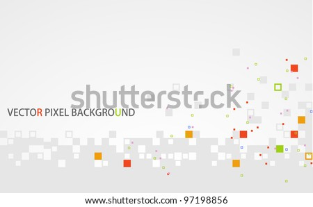 stylish light gray vector pixel background with colored pixels