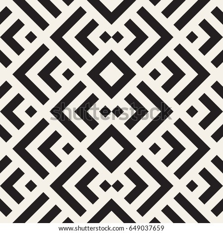 Stylish Lines Maze Lattice. Ethnic Monochrome Texture. Abstract Geometric Background Design. Vector Seamless Black and White Pattern.