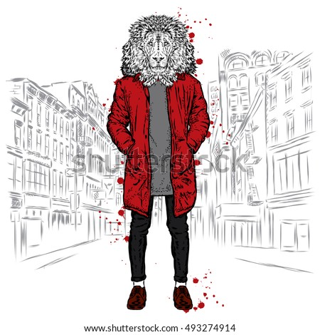 Stylish lion in a jacket and jeans vector illustration for greeting stylish lion in a jacket and jeans vector illustration for greeting card poster m4hsunfo