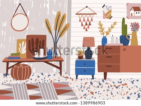 Stylish living room interior with coffee table, sideboard, plants growing in pots, lamp, home decorations. Comfy and cozy apartment furnished in modern Scandic hygge style. Flat vector illustration.