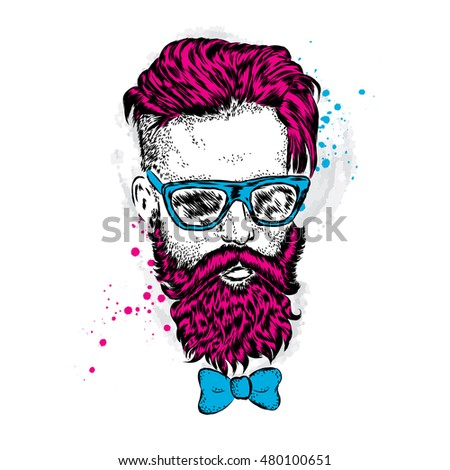 Stylish man with a beard. Man with long hair and glasses. Vector illustration for a card or poster. Print on clothes. Barbershop. Hipster.