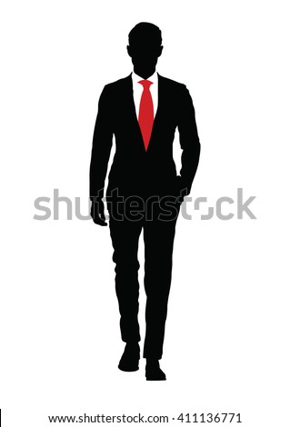 Stylish man with red tie on white background.