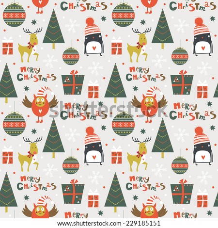 Stylish Merry Christmas seamless pattern with owl deer penguin tree gifts and toys in vector Seamless pattern can be used for wallpapers pattern fills web page backgrounds