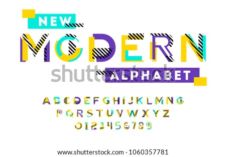 Stylish modern abstract alphabet with numbers, colorful font from pieces of shapes and strips