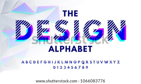 Stylish modern abstract alphabet with numbers, colorful font from pieces of shapes and strips, glitch effect.