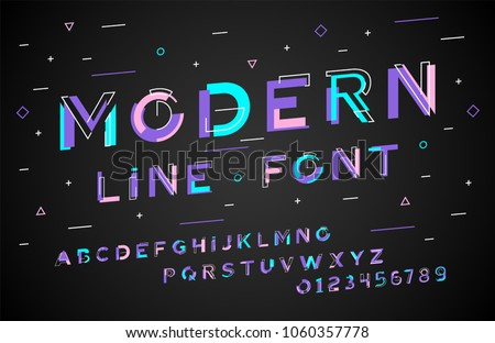 Stylish modern abstract italic alphabet with numbers, colorful font from pieces of shapes and strips, game style.