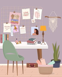 Stylish modern comfy apartment furnished with home decorations. Feminine mood board, writing desk with books, cosmetics and home plants.Scandinavian hygge style Interior. Flat vector illustration