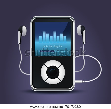 stylish modern MP3 player with earphones - stock vector
