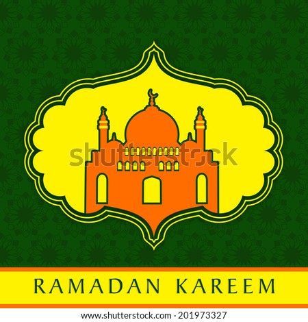 Stylish mosque in orange colour on stylish yellow and green background for holy month of Muslim community Ramadan Kareem.