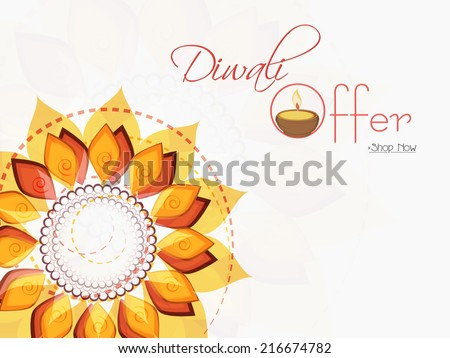 Stylish Offer Poster Banner Or Flyer Design With Illuminated Oil Lit Lamp And Colorful Floral