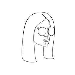 Stylish one continuous line woman in sunglasses. Fashionable typography girl in minimalist style. Beauty sign. Attractive fashion model. Summer fashion. Human avatar in glasses.