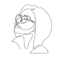 Stylish one continuous line woman in sunglasses. Fashionable typography girl in minimalist style. Beauty sign. Attractive fashion model. Summer fashion. Human avatar in glasses